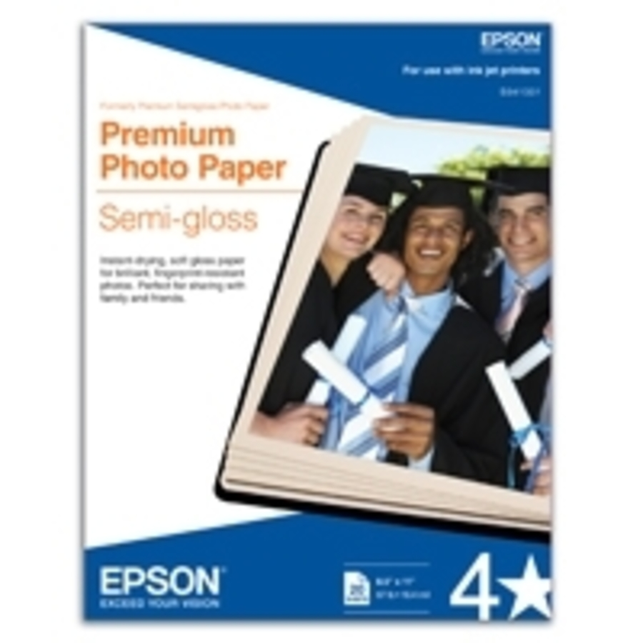 PAPEL EPSON PHOTO SEMIGLOSS, CARTA, 20 HOJAS, 8.5 X 11