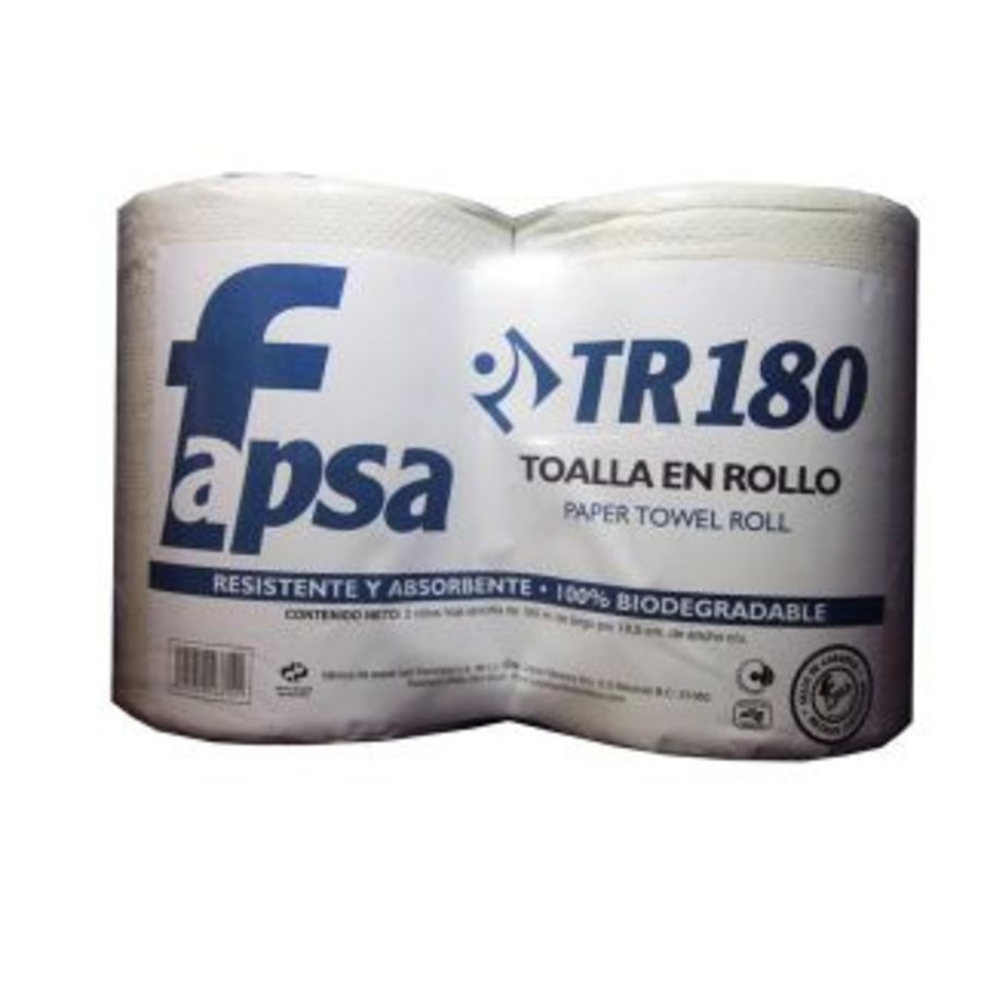TOALLA EN ROLLO FAPSA TR180 PAQ.C/2 ROLL.180MR